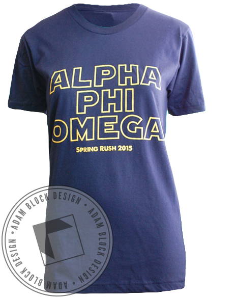 Alpha Phi Omega Rocketship Tee Shirt-gallery-Adam Block Design