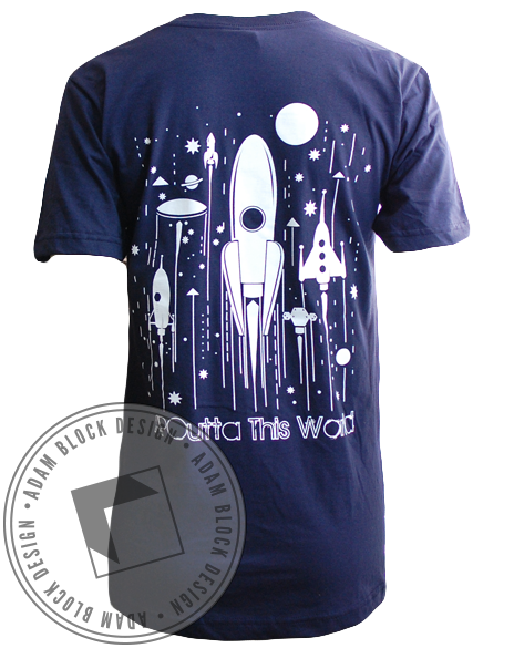Alpha Phi Omega Rocketship Tee Shirt-Adam Block Design