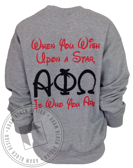 Alpha Phi Omega When You Wish Sweatshirt-Adam Block Design