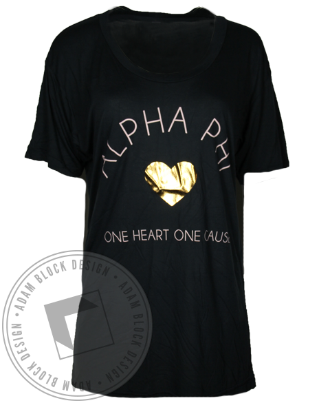 Alpha Phi One Heart One Cause Shirt-Adam Block Design
