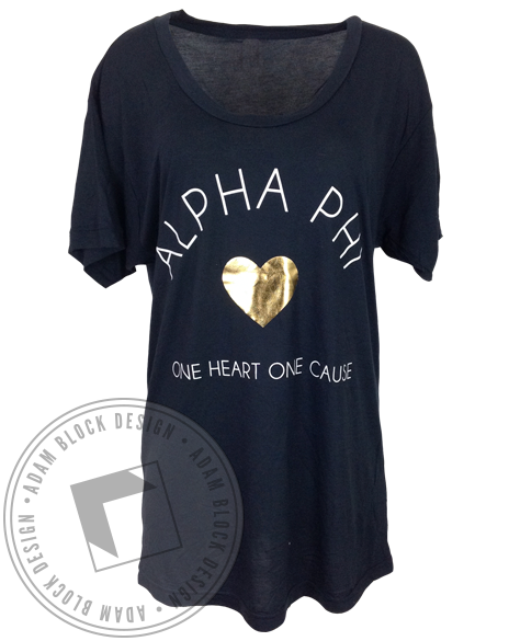 Alpha Phi One Heart Tee-Adam Block Design