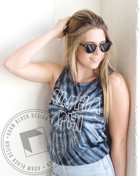Alpha Phi Outline Name Tie Dye Tank-gallery-Adam Block Design