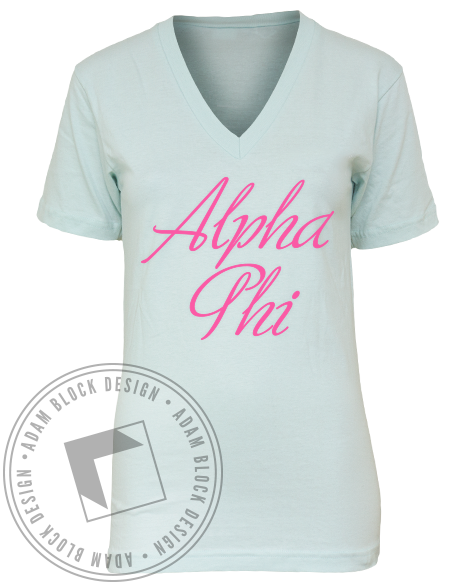 Alpha Phi Panhellenic Flag Banner V-Neck-Adam Block Design
