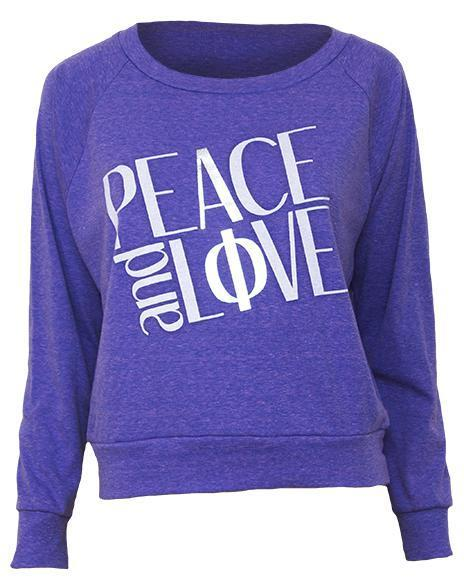Alpha Phi Peace And Love Raglan-Adam Block Design