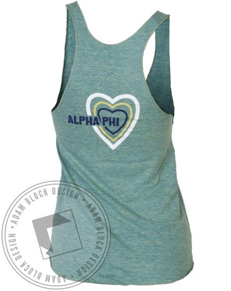 Alpha Phi Peace Love Tank-Adam Block Design
