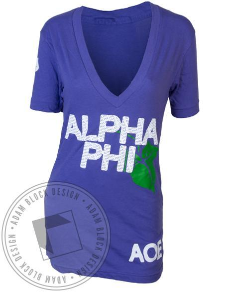 Alpha Phi Phi-Ling V-Neck-Adam Block Design