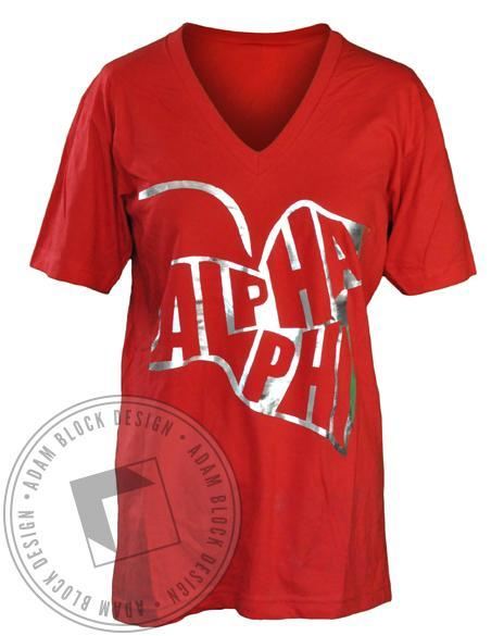Alpha Phi Philing Ivy V-Neck-gallery-Adam Block Design