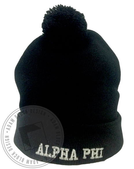 Alpha Phi Pom Beanie-gallery-Adam Block Design