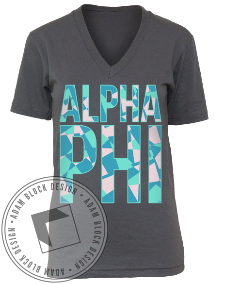 Alpha Phi Recruitment V-Neck-gallery-Adam Block Design
