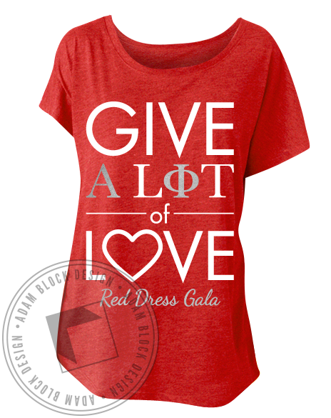 Alpha Phi Red Dress Gala Tee-Adam Block Design