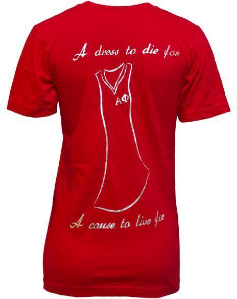 Alpha Phi Red Dress Gala V-Neck-Adam Block Design