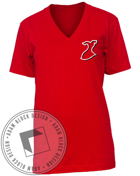 Alpha Phi Red Dress Heart V-Neck-Adam Block Design