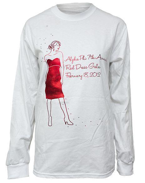 Alpha Phi Red Dress Long Sleeve Crew Neck Tee-Adam Block Design