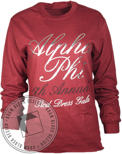 Alpha Phi Red Dress Long Sleeve-Adam Block Design