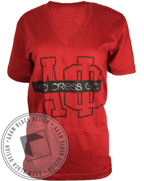 Alpha Phi Red Dress Vneck-Adam Block Design