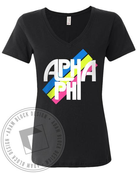 Alpha Phi Retro Stripe V-Neck-Adam Block Design