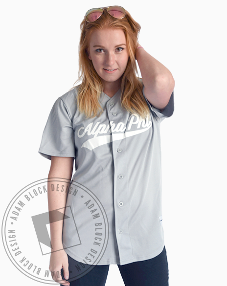 Alpha Phi Script Baseball Jersey-gallery-Adam Block Design