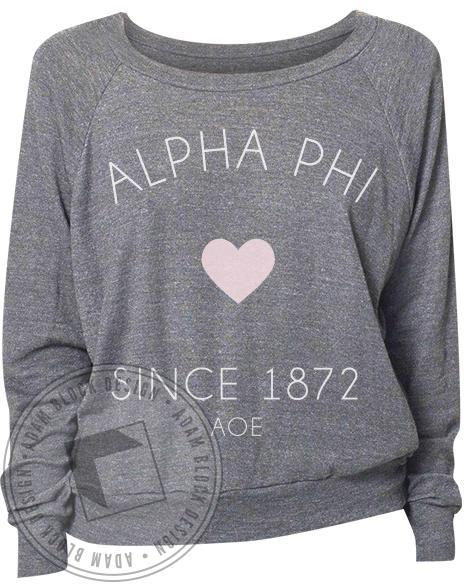 Alpha Phi Simple Heart Raglan-Adam Block Design