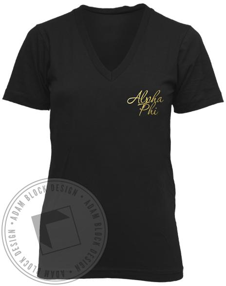 Alpha Phi Two Letters One Choice No Regrets V-Neck-Adam Block Design