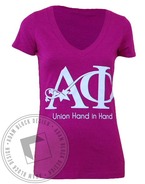 Alpha Phi Union V-Neck-Adam Block Design