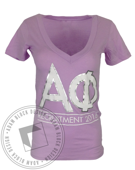 Alpha Phi Want It Need It Gotta Repeat It Foil VNeck-Adam Block Design