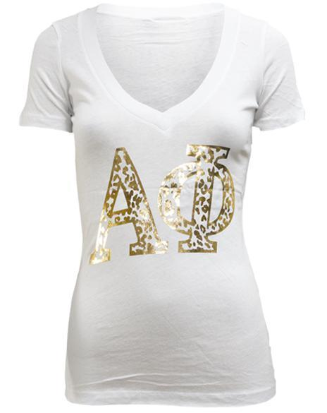 Alpha Phi Young Wild and Phi V-Neck-Adam Block Design