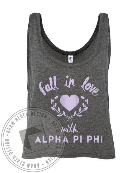 Alpha Pi Phi Fall In Love Tank-Adam Block Design
