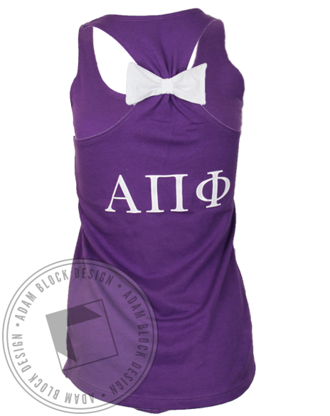 Alpha Pi Phi Swan Bow Tank Top-gallery-Adam Block Design