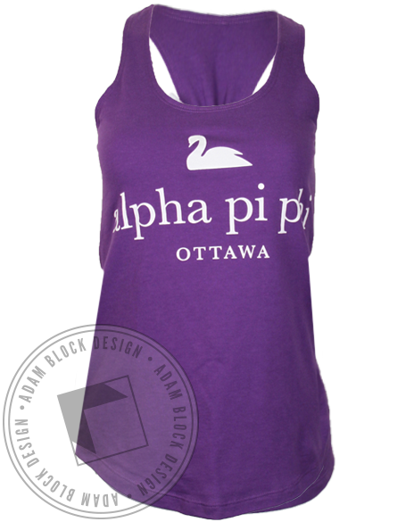 Alpha Pi Phi Swan Bow Tank Top-Adam Block Design