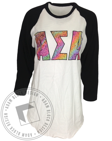 Alpha Sigma Alpha 46 Baseball Tee-Adam Block Design