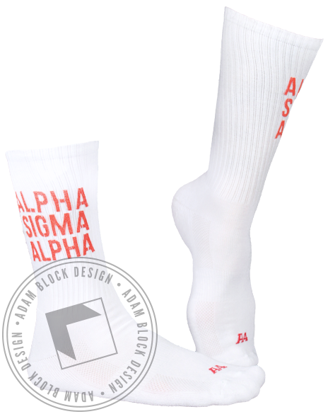 Alpha Sigma Alpha Athletic Socks-Adam Block Design