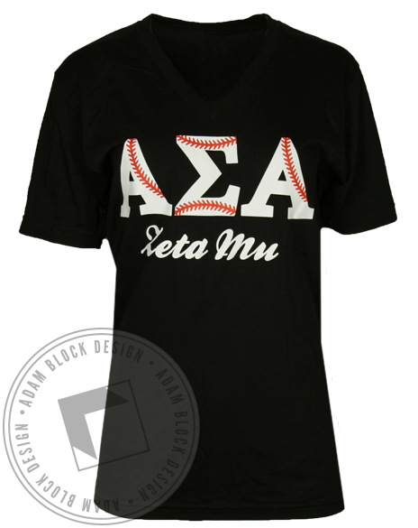 Alpha Sigma Alpha Baseball A Team T-shirt-Adam Block Design
