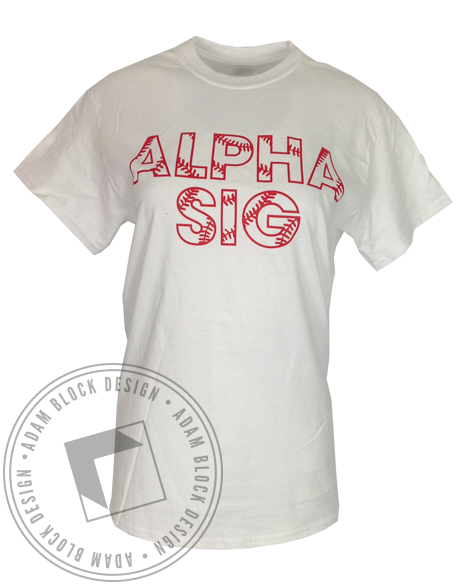 Alpha Sigma Alpha Baseball Tee-Adam Block Design