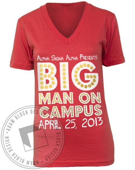 Alpha Sigma Alpha Big Man On Campus V-neck-Adam Block Design