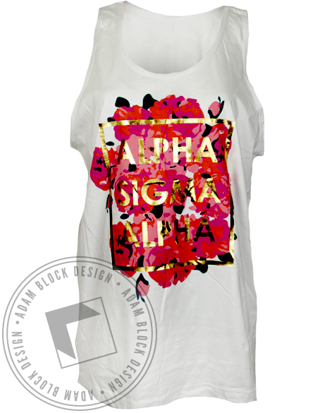 Alpha Sigma Alpha Gold and Roses Tank Top-gallery-Adam Block Design