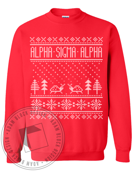 Alpha Sigma Alpha Holiday Sweatshirt-gallery-Adam Block Design