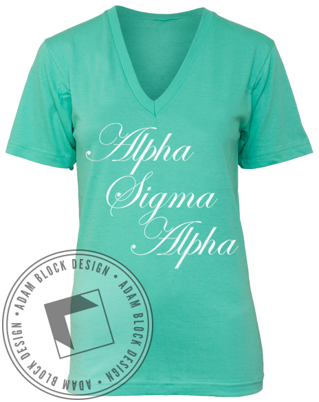 Alpha Sigma Alpha Recruitment V-Neck-gallery-Adam Block Design