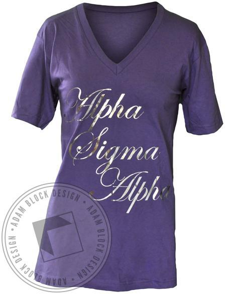Alpha Sigma Alpha Sisters V-Neck-Adam Block Design