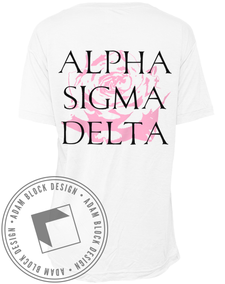 Alpha Sigma Delta Rose Tshirt-Adam Block Design