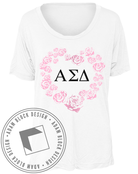 Alpha Sigma Delta Rose Tshirt-gallery-Adam Block Design