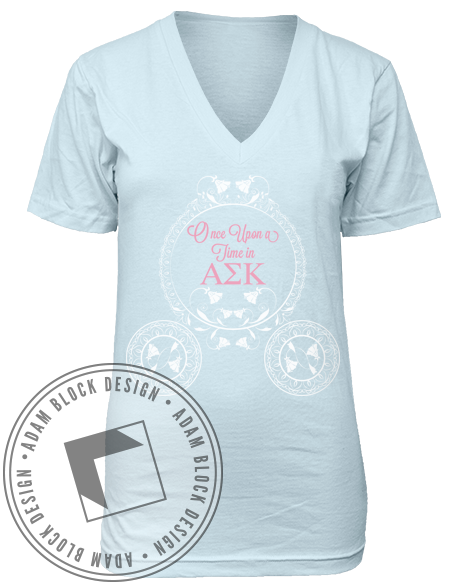 Alpha Sigma Kappa Happily V-Neck Tee Shirt-Adam Block Design