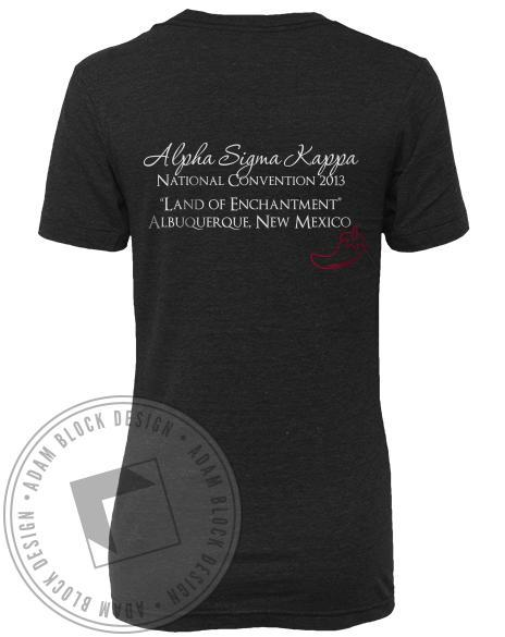 Alpha Sigma Kappa Sisters V-neck T-Shirt-Adam Block Design