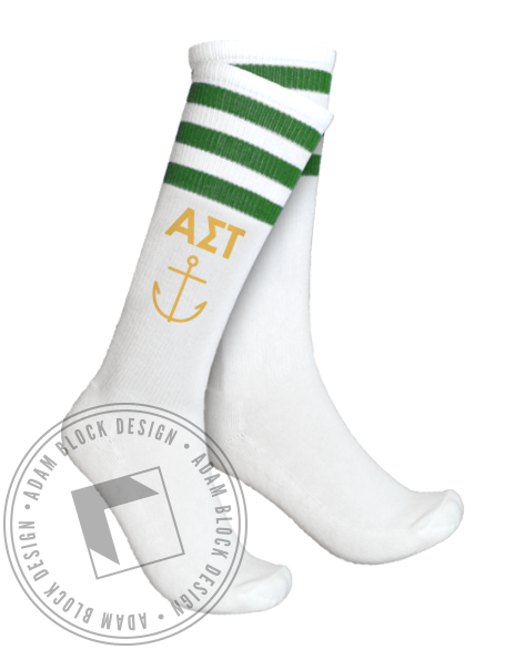Alpha Sigma Tau Anchor Striped Socks-Adam Block Design