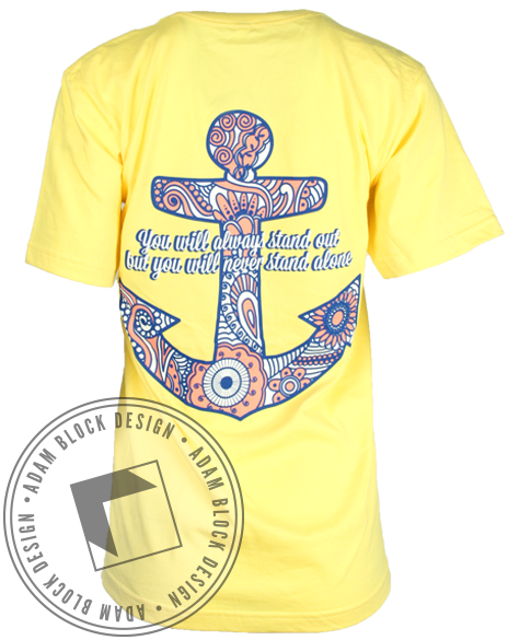 Alpha Sigma Tau Anchor Tee - Yellow-Adam Block Design