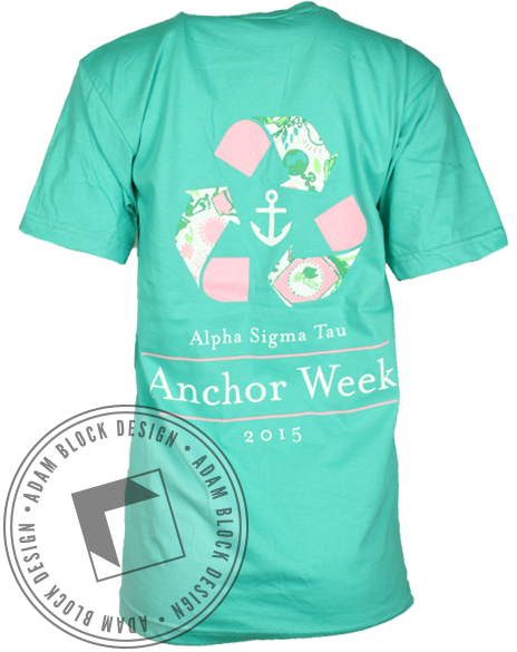 Alpha Sigma Tau Anchor Week Vneck-Adam Block Design