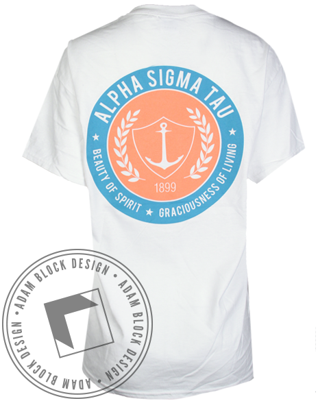Alpha Sigma Tau Beauty Of Spirit Pocket Tee-Adam Block Design