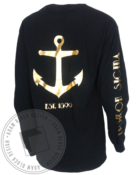 Alpha Sigma Tau Custom Foil Pocket Long Sleeve-Adam Block Design