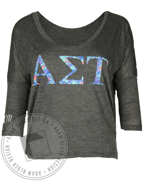 Alpha Sigma Tau Floral 3/4 Sleeve Shirt-Adam Block Design