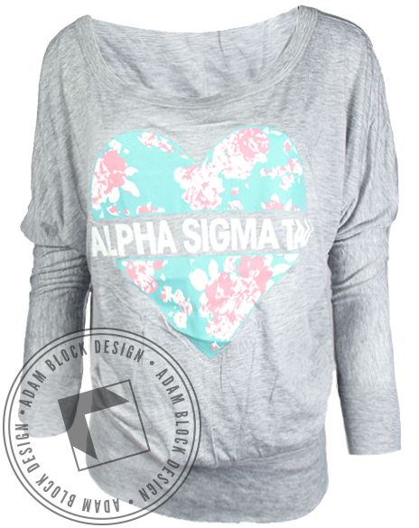 Alpha Sigma Tau Floral Heart Long Sleeve-Adam Block Design
