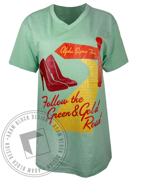 Alpha Sigma Tau Follow the Green & Gold Tshirt-gallery-Adam Block Design